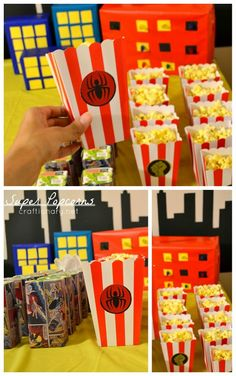 Superhero birthday party for boys and girls themed after avengers and marvel comic with free printables and easy ideas to decorate and have fun on a budget. Diy Superhero Birthday Party, Birthday Popcorn, Boy Birthday Parties, 3rd Birthday, Baby Superhero, Kids Party Decorations, Kids Party Themes, Kid Party Favors, Party Ideas