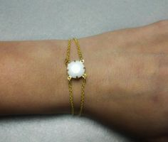 Delicate Gold and White Connector Bracelet by OneSEC on Etsy, $7.50