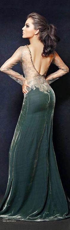 2865ea33b Camille Flawless Pine Green Velvet Gown Vestido De Renda, Vestido De Festa  Longo, Vestido