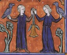 Last 13thc illumination of the marital purse Aumônières, otherwise known as alms purses Embellished textile purses in the French 14th century