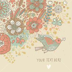 colores de fondo vintage. pastel de color papel tapiz floral con aves y mariposas. tarjeta romántica de dibujos animados en vector — Ilustración de stock #25066577