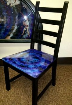 She used the coolest painting technique to turn basic furniture into a galaxy!