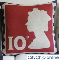 British Stamp Linen Cushion Cover