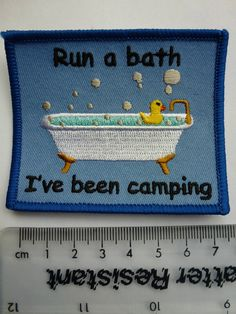 "Guide/Scout Fun Blanket Campfire Badge ""Run a Bath I've been camping"" Camping Blanket, Fundraising, Running, Badges, Community, Ebay, Girls, Design, Little Girls"