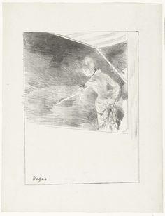 Edgar Degas | Zangeres staat op podium tijdens concert bij café, Edgar Degas, 1876 - 1877 | Een zangeres, mogelijk Mademoiselle Bécat, staat op een podium te zingen onder een luifel van een café. De beschouwer ziet haar van achteren en heeft door het standpunt geen zicht op het publiek naar wie zij gebaart met haar arm.