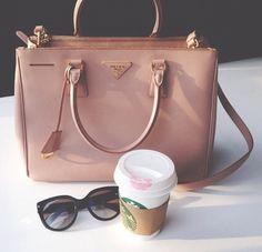 Image via We Heart It #bag #coffee #glasses #handbag #lipstick #luxury #pink #Prada #purse #starbucks #summer #sunglasses