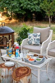 Stumps for tables - Backyard Summer Entertaining: Women's Group