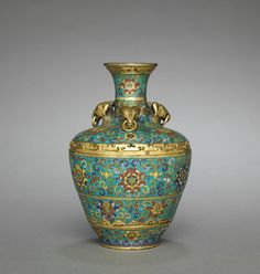Vase with Three Rams' Heads, 1736-1795 China, Qing dynasty (1644-1912), Qianlong mark and reign (1736-1795) cloisonné enamel,