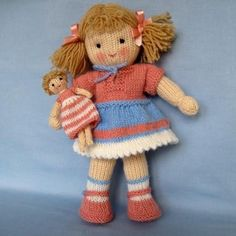 KNITTING PATTERN contains instructions for Lulu and her tiny doll. Lulu's dress and panties are removable but her shoes are not.SIZE: Lulu - 30 cm (12 in). Tiny doll -12 cm (4.5 in)NEEDLES: knitted on two straight 3.25 mm needles (US 3)YARN: DK (double knitting) yarn (USA - light-worsted/Australia - 8 ply).Hayfield Bonus DK – Flesh Tone (963) (50g)Stylecraft Special DK – Camel (1420) (hair),Pale Rose (1080),Cloud Blue (1019)Small amounts of white and blackSKILLS REQUIRED: cast on, cast...