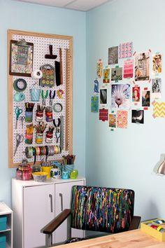 Peg board idea for a craft room.