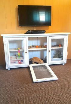Our rabbit hutch made from the top of a kitchen hutch. The bottom part will be made into another tv cabinet for the other living toom. 3eeFamily 07/30/16