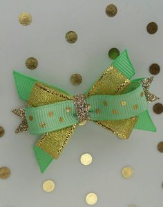 Hey, I found this really awesome Etsy listing at https://www.etsy.com/listing/274364988/mint-and-gold-hairbow-princess-sparkle