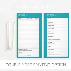 Invoice Form Business Form Persnoal Size by SuperZuperDesign
