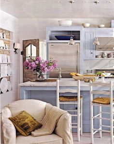 The perfect setting for a fireclay sink. Great county kitchen ideas www.rohl.co