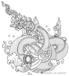 Thai Pattern, Thai Design, Thai Art, Ink Illustrations, Betta, Asian Art, Line Art, Snake, Dragon