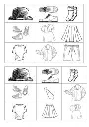English Worksheets: Clothes bingo
