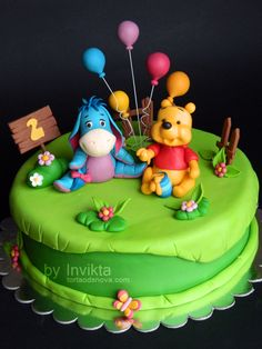 I want this cake but without Pooh, just Eeyore :) And for it to say 1 not 2 with Happy Birthday Mallorie of course