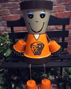 Excited to share this item from my shop: Cleveland Browns Flower Pot People / football decor/ clay pot people/ Raiders Flower Pot People, Clay Pot People, Terra Cotta, Oakland Raiders, New England Patriots, Painted Clay Pots, Hand Painted, Clay Pot Crafts, Diy Crafts