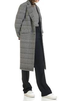 Manteau long en laine Prince de Galles Blanc by BA & SH