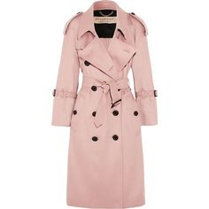 Burberry The Lakestone cashmere trench coat ($2,695) ❤ liked on Polyvore featuring outerwear, coats, pastel pink, pink cashmere coat, burberry trenchcoat, buckle coats, burberry coat and button coat