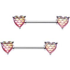 "5/8"" Iridescent Pink Mermaid Scale Heart Barbell Nipple Ring Set"