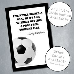 $10 Custom Soccer Poster with Inspirational Quote. Sports Room Decor, Home Decor, Wall Decor. Quote adjustable. Available in any size. Digital File.    Etsy Shop: MeghansView