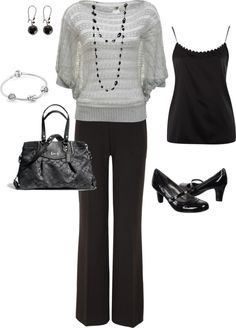 Black pants, pattern top- work outfit idea for cooler months
