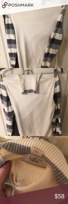 Ann TAYLOR Loft Turtleneck Like New without tags - looks great solo or Under vests esp w the striped sleeve! LOFT Sweaters Cowl & Turtlenecks