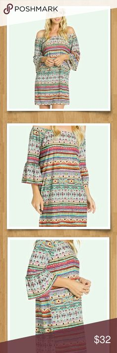 Multi-colored Off-the-Shoulder Midi-dress Off-the-Shoulder multi-colored bell sleeve dress.  Awesome paired with skinny jeans or leggings.  (Polyester / Spandex) NWT. Various sizes. Photo #1: accurate color Photo #2 and #3: dress fit shown. Blossom Apparel  Dresses Midi