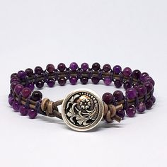 * Gorgeous purple Lepidolite single wrap beaded leather bracelet.  * This bracelet is made with quality 4mm Lepidolite. Each bead is hand threaded onto Indian leather and it is finished with a Czech Flower style button closure. * Lepidolite is often referred to as The Peace Stone