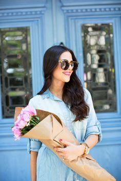 Dress: Anthropologie | Bag: Phillip Lim | Glasses: Karen Walker | Watch: Michael Kors | Lips: YSL Rouge Volupte Shine #6