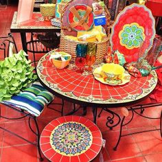 Love this red mosaic table and serving dishes from Pier 1 Imports // #Pier1Outdoors #ad