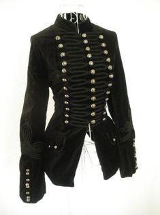 Vintage black velvet gothic military coat
