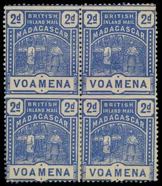 Great Britain Post in Madagascar, SG 57b 1895 2d. blue, error IMPERFORATE BETWEEN vertically, block of four comprising two vertical pairs, fresh unused without gum. Trace of red crayon on reverse and odd shortish perfs at corners, still a fine and attractive multiple of this rare error. S.G. 57