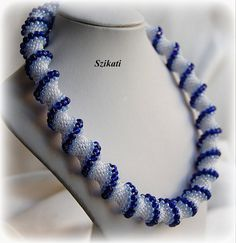 White & blue seed bead necklace Beadwork necklace by Szikati