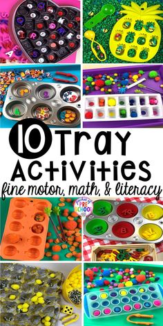 Fun tray activities to develop fine motor, literacy, and math skills your preschoolers, per-k, and toddler kiddos will LOVE! #preschool #preschoolmath #letteractivities #finemotor #sensory Motor Skills Activities, Letter Activities, Sorting Activities, Hands On Activities, Preschool Activities, Math Skills, Toddler Preschool, Toddler Activities, Letter Matching Game