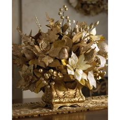 Golden Floral Holiday Tabletop Arrangement ($250) ❤ liked on Polyvore featuring home, home decor, holiday decorations, home & garden, new arrivals, pictures and floral home decor