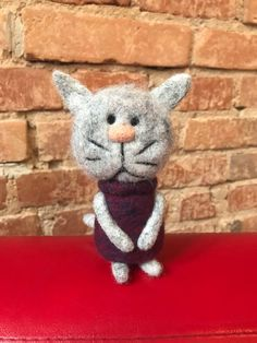 Needle Felted Soft Sculpture Gifts by - Cat Lover Gifts, Cat Lovers, Needle Felted Cat, Felt Gifts, Baby Penguins, Unusual Animals, Quirky Gifts, Felt Cat, Animal Projects