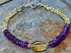 Natural yellow citrine and amethyst 925 sterling silver beaded gemstone bracelet by Emmalishop Stackable Bracelets, Beaded Bracelets, Amethyst Bracelet, Sterling Silver Bracelets, Artisan Jewelry, Gemstone Jewelry, Diamond Cuts, Mall, Gemstones