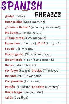 Spanish Words For Beginners, Spanish Lessons For Kids, Learning Spanish For Kids, Spanish Basics, Spanish Language Learning, Learn A New Language, Basic Spanish Words, Teaching Spanish, Phrases In Spanish