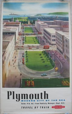 Plymouth - Modern City By The Sea, by Bagley. Central Plymouth was badly bombed in WWII, and a major rebuilding project took place during the 1950s. This posters shows an artist's view of the spaciously rebuilt Armada Way area of the city, looking towards the Naval Memorial obelisk and Hoe Park, with a large ship in the distance. The buildings are still similar today, but it has all been pedestrianised and landscaped. Original Vintage Railway Poster available on originalrailwayposters.co.uk