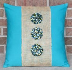 Decorative Throw Pillows Burlap YoYo Rosettes Teal by PoshAvenue, $30.00