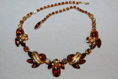 Vintage / Weiss / Rhinestone / Necklace / Topaz / Root Beer / Signed / Designer / Old Jewelry / Jewellery