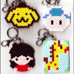 Perler bead keychains by hamabeadssby