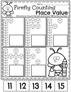 Place value worksheets, place value activities, number activities, kinderga Place Value Activities, Place Value Worksheets, Math Place Value, Kids Math Worksheets, Place Values, Base Ten Activities, Kindergarten Math Activities, Preschool Math, Teaching Math