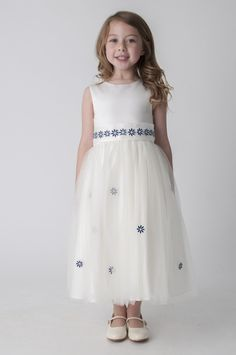 Ivory & Navy Daisy Dress Flower Girl Party Dress. available in other colours, please see our website. UK supplier ships worldwide.