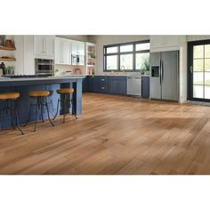 Bruce Hydropel Hickory Natural in. T x 5 in. W x Varying Length Waterproof Engineered Hardwood Flooring sq. - The Home Depot Hickory Flooring, Engineered Hardwood Flooring, Hardwood Floors Wide Plank, Bruce Flooring, Vinyl Flooring, Armstrong Flooring, Blue Cabinets, Waterproof Flooring, Kitchen Flooring