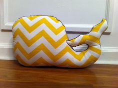 Whale Pillow Yellow and White Chevron with Gray Minky on Etsy, $28.00