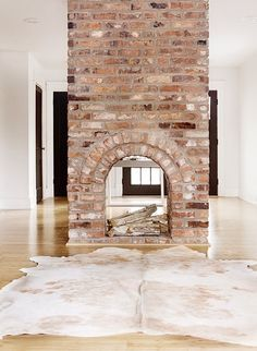 8 Serene Simple Ideas: Double Sided Fireplace Cabin old fireplace charms.Tv Over Fireplace Placement alternative fireplace ideas.Fireplace Built Ins Narrow. House Design, New Homes, Beautiful Homes, Home, Brick, Exposed Brick, Double Sided Fireplace, Fireplace, Brick Fireplace