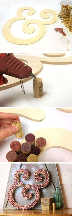 cork crafts wedding, diy cork letter, wine wedding gift, wine cork ampersand, crafts with wine corks